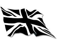 3x5 inch WAVING Black Jack Flag Sticker - decal england uk britain british union