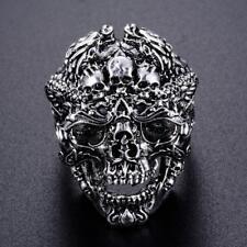 Ring Schädel Totenkopf Satan Tot Teufel Edelstahl Gothic Biker Punk Silber Neu