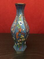 "Fine Blue Chinese Hexagonal Cloisonne Vase With  Birds & Flowers 5 1/2""H"
