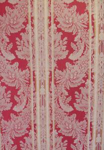 Designer Damask Stripe Wallpaper in Red and Gold per Triple Roll     11125990