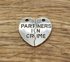 15sets Partners in Crime Charms 2 Piece Set Charm Antique Silver Tone 19x20 2178