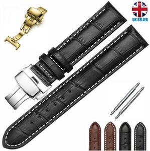 BLACK BROWN GOLD SILVER BUTTERFLY DEPLOYMENT LEATHER WATCH STRAP16 18-20-22-24MM