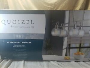 """Quoizel Soho 33"""" w Brushed Nickel Kitchen Island 6-Light Clear blown Glass Shade"""