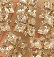 "2 Vintage Silver Rhinestone Czech Shank Buttons 4 Diamond Design 3/4"" 18mm 291"