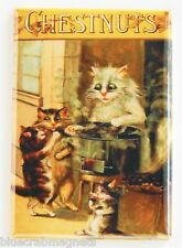Cat Roasting Chestnuts FRIDGE MAGNET (2 x 3 inches) kittens