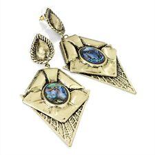 LARGE ANTIQUE GOLD LOOK 10cm DROP EARRINGS BLUE TONE SHELL CENTRE DIAMOND SHAPE
