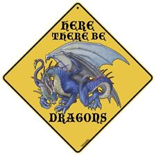 Here There Be Dragons Sign New 12X12 Metal