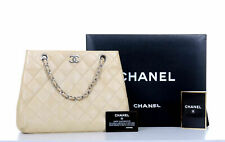 CHANEL Ivory Quilted Leather CC Medium Shoulder Bag Purse