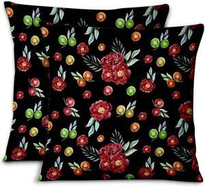 S4Sassy Black Cotton Poplin Fruits & Peony Home Decor Pillow Case-5DP