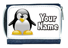 PENGUIN PERSONALISED DENIM PURSE / MINI WALLET *GREAT NAMED GIFT / PRESENT *