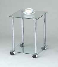 2-Tier clear glass shelving rack/side/end/coffee table with wheels-GR17C