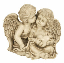 Engelspaar sitzend Herz 21,5 cm Grabschmuck Grabdeko Grabstein Gedenkstein Engel