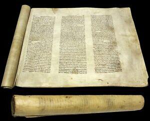 Ancient Esther Scroll Megillah Bible Handwritten On Parchment GERMANY 1750