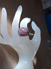 Argentinian Rhodochrosite, Garnet, Dia Ring, Sterling Silver, Size 8, 19.67 CTS