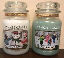 Yankee Candle BUILD A SNOWMAN, FROLIC & PLAY 22 oz Jar Lot of 2 Winter Wonder
