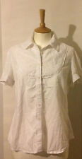 Ladies white short sleeved blouse by Cherokee 14