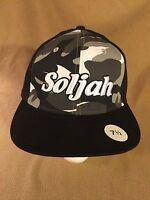 Hat Ball Cap 5BAC NWOT SOLJAH 7-1/2 L XL Fitted Black Gray Camp
