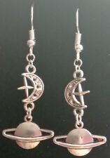 Planet moon and star earrings celestial saturn dangle handmade