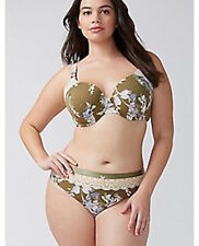 Cacique Lane Bryant Hipster Panty with Lace 26/28 Ballet Floral Sage Green