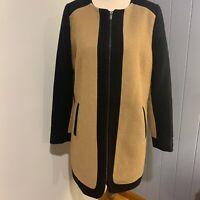 Ladies BNWT $119.95 KATIES Wool Blend  Long Line Zip Up Jacket coat Work Size 8