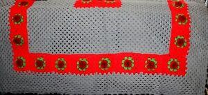 Vtg Red Gray Maroon 3D Rose Flower Afghan Coverlet Crocheted Blanket Cover Throw