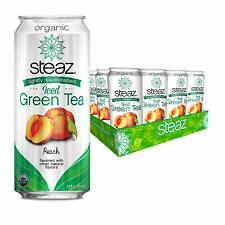Steaz Organic Iced Green Tea with Peach, Lightly Sweetened, 16 OZ (Pack of 12)