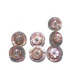 7 Vintage Black Glass Iridescent Buttons