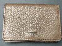 Fossil Wallet Bifold Small Brown Pebbled Snap Closure Free Shipping Nice