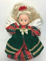 """Vintage Angel Doll 10"""" Mo' Money Blonde Red Green Plaid Christmas Dress NEW"""