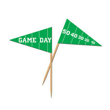50 FOOTBALL FIELD Flag 50 yard line Food Pick Tailgate Super Bowl Party GAME DAY