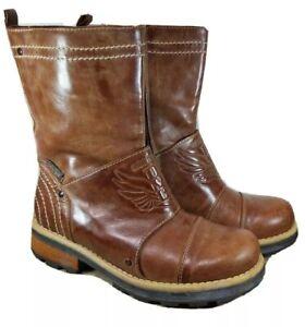 Roberto Cavalli Boots size 36 Brown Designer Biker Distressed Leather Ankle Tan