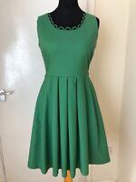 Louche Dress Size 12 Green Joy Tea Dress Scalloped Neckline Pleated Summer