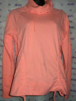 $52 Lucy drawstring cowl neck long sleeve peach SWEATER medium blouse stain