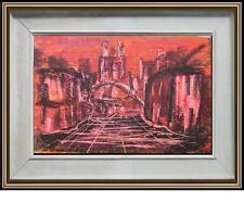 misterioso acquerello d'arte astratta Città rossa firma Maria Falco cornice40x60