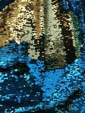 5mm Mermaid Sequins Gold Turquoise Flip Reversible fabric by the yard