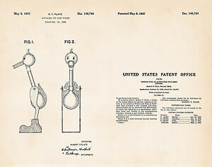 1947 The Water Drinking Bird Happy Bobbing Toy Patent Art Print Drawing Poster