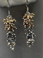 Boho Bronze black silver  Crystal  Dangle  Multicolour Glass Pierced Earrings