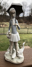 New ListingLladro Figurine Girl With Umbrella & Geese #4510 Matte Excellent Condition