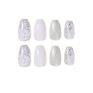 Glitter Snowflake Artificial Nail Tips Long Ballerina Fake Nails Manicure Tools