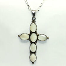 Vintage Sterling Silver Mother Pearl Cross Oval Link Chain Necklace ATI Mexico