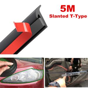 5M T-Type Black Universal Rubber Sealing Strip Front Bumper Lip Body Kit Trim