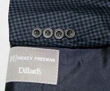 HICKEY FREEMAN 44S Blue & Navy Gingham Check Wool Made USA Sport Coat