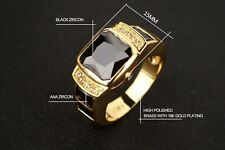 Men's Stylish 18k Gold & Black Zircon Diamond Wedding Ring Fashion Size 11 V 1/2