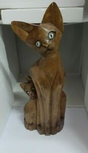 Wooden Hand Carved Cat Mother with Kitten Figural Statue Sculpture