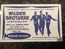 Wilder Brothers and Sextet In The Porpoise Room At Marineland Restaurant Card Ad