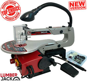 "Lumberjack 16"" Variable Speed Scroll Saw 125W With Blade LED Lamp Dust Blower"