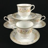 Set of 4 VTG Cups and Saucers Mikasa Petite Multi Floral Leaves L9313 Japan