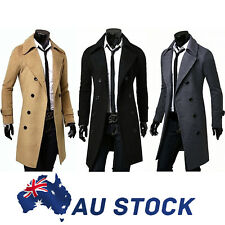AU Men's Gent Slim Fit Double Breasted Long Overcoat Trench Coat Jacket Outwear