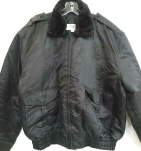 Police Law Enforcement Security Jacket, Mens Large, Black, Thick Heavy & Warm