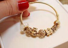 Pandora Authentic Solid 14K Gold Bracelet w/ 10 14k gold  charms